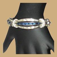 Boucher Baguette & Round Cut Rhinestone Bracelet, Vintage 50's 60's, Numbered 6048