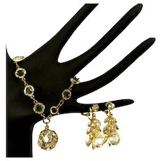 Vintage Crystal Bracelet & Dangling Earrings, 1960's