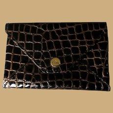 Abas Leather Coin Purse, Crocodile Pattern Vintage Wallet 80's