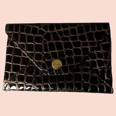 Abas Leather Coin Purse, Crocodile Pattern Vintage Wallet 80's