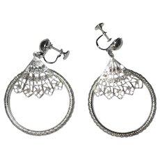 Vintage Hoop Earrings, Articulated Screw Backs, Silver Toned, Filigree Fan
