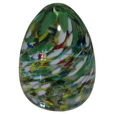 Glass Egg Paperweight, Vintage WV, Hand Made, Swirling Speckles