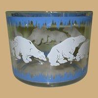 Hazel Atlas Polar Bear Ice Bucket, Vintage 1930's Glass Barware