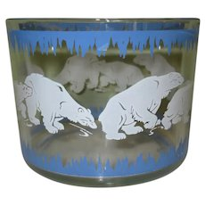 Hazel Atlas Polar Bear Ice Bucket, Vintage 1930's Glass Barware