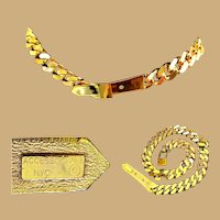 Accessocraft NY Belt, Gold Toned Thick Chain, Vintage 1980's