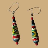 Vintage Bead Earrings, Hand Painted, Peruvian