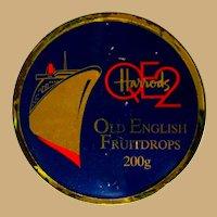 QE2 Vintage Candy Tin, Harrods Fruit drops