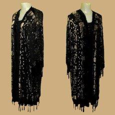 Vintage Black Velvet Burn Out Piano Jacket, Kimono, Beaded Fringe