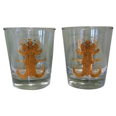 Two Zodiac Highballs, Set of 2 Cocktail Glasses, 1950's, Libra, Anchor Hocking