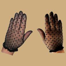 Black Sheer Lace Gloves, Vintage 80's