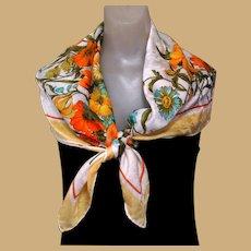 J. D'Ormont Silk Scarf, Large Vintage Jacquard Floral