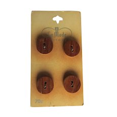 Vintage Wood Buttons, Italy, 1950's La Mode