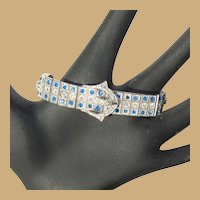 Art Deco Diamonbar Sterling Rhinestone Buckle Bracelet, 20's Wachenheimer