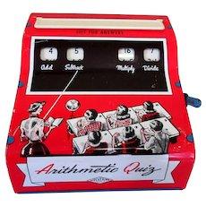 Arithmetic Quiz Toy, Vintage Metal Lithograph, 1940's Mid Century