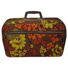 Vintage Floral Suitcase, 1960's Bantam, Made in Japan