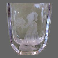 Vintage Crystal Vase, Etched Girl, Glasbruk Glassworks, Sweden