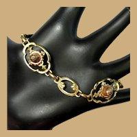 Vintage Bracelet, Floral Link, Gold Filled, Iskin, Retro