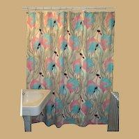 Vintage Flamingo Shower Curtain, Mimi Designs, 70's Cotton
