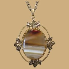 Vintage Pendant Necklace, Art Glass, Leaves, Gold Toned, Faux Agate