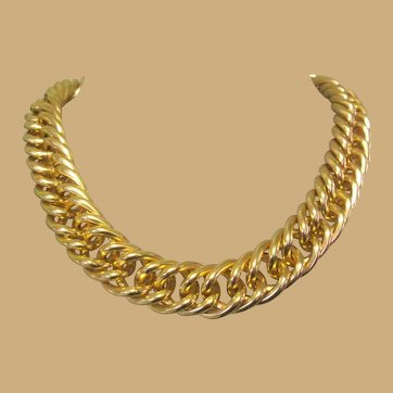 Gold Toned Chain Necklace, Vintage 80's, Big and Bold