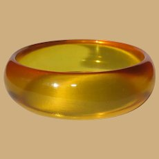 Apple Juice Bakelite Bracelet, Prystal Bangle, Art Deco Domed