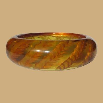 Wheat Bakelite Bracelet, Reverse Carved Prystal, Deco, 30's