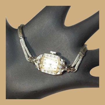 Lady Elgin Watch, 14K WG, Diamonds, Vintage 40's, Runs