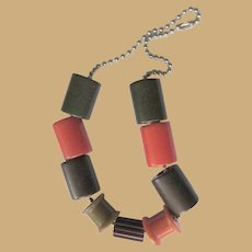 Bakelite Crib Toy Necklace, Vintage 1940's Spools, Cylinders
