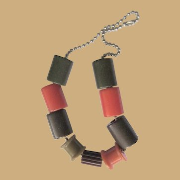 Bakelite Crib Toy Necklace, Vintage 1940's Spools, Cylinders