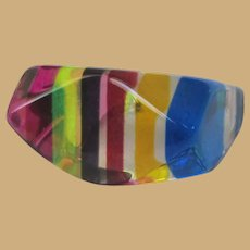 Vintage Lucite Rainbow Ring, Clear 60's Mod