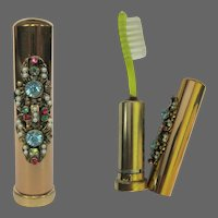 Vintage Rhinestone Purse Case, Toothbrush, 1950's