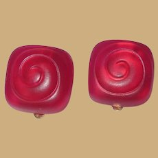 Vintage Liz Claiborne Earrings, Red Lucite Clip ons.