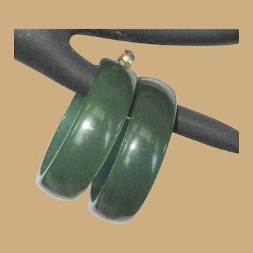 Vintage Hoop Earrings, Green Plastic / Lucite, Large Clip Ons