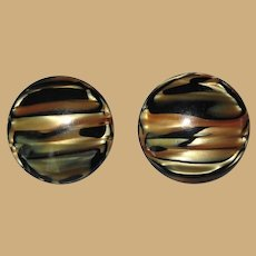Vintage 60's Lucite Earrings, Marbled Black, Cream, Gold, Large Clip ons.