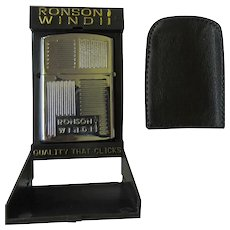 Vintage Ronson Windii Lighter, NOS in Display Case & Pouch, 60's