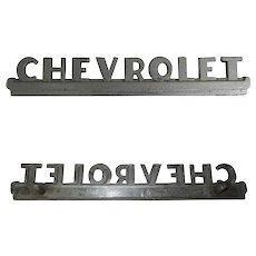 Vintage Chevrolet Emblem Chrome Hood Trim Metal Script 1947-53