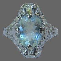 14K Filigree Ring, Sky Blue Topaz, 20's Art Deco