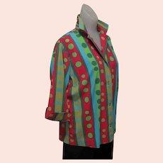Vintage Polka Dot Shirt/ Blouse, Mid Century, 50's 60's Cotton, Funky