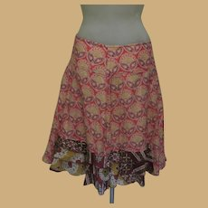 Vintage Cotton Skirt, Made in Italy, Cotton, Ruffles, Benetton