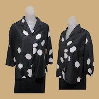 Vintage Polka Dot Blouse, Cotton, Black & White 50's