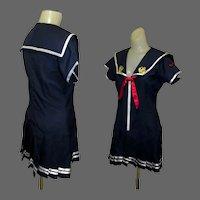Vintage Sailor Dress /  Costume, 1960's Drop Waist Mini, Pleated Navy
