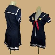 Vintage Sailor Dress /  Costume, 1960's Drop Waist Mini, Pleated Navy