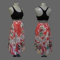 50's Western Skirt, Cotton Square Dance Print, Vintage Musical Theme