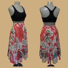 50's Western Skirt, Cotton Square Dance Print, Vintage Musical Theme