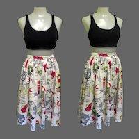 Vintage 50's Skirt, Western Themed Print, Cotton, Pleated Full Skirt, Joy Stevens