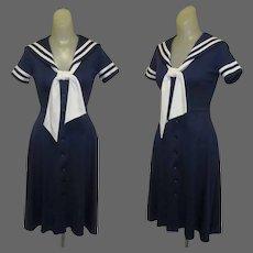 Vintage Sailor Dress, 70's Vicky Vaughn, Poly Knit