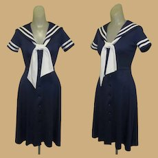 Vintage Sailor Dress, 70's Vicky Vaughn, Poly Knit