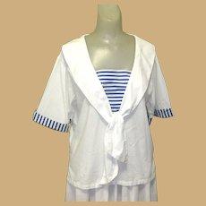 Vintage Sailor Dress / Blouse & Skirt, 80's Cotton White & Blue