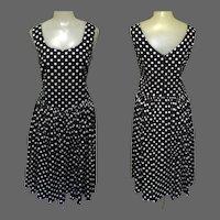 Vintage Laura Ashley Dress, Cotton Polka Dot, Sleeveless, Sweetheart Neck Line, 80's