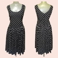 Vintage Laura Ashley Dress, Cotton Polka Dot, Sleeveless, Sweetheart Neck Line, 80's